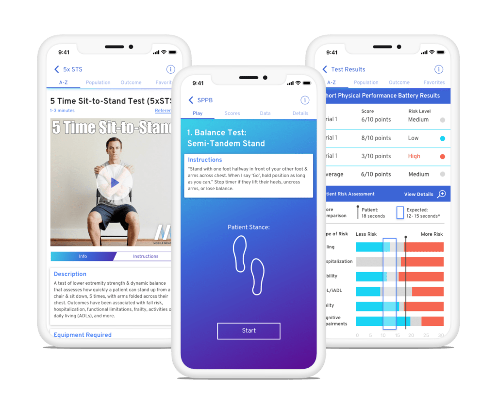 Mobile Measures application for physical therapists
